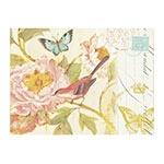 Placa Decorativa Pássaro Vermelho e Flor Rosa Grande em Metal - 40x30cm