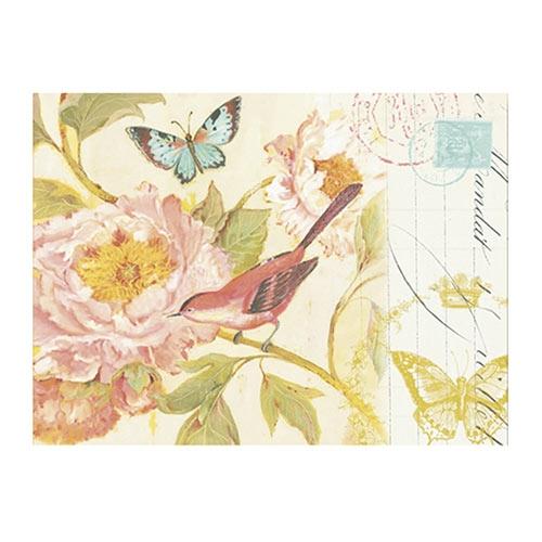 Placa Decorativa Pássaro Vermelho e Flor Rosa Média em Metal - 30x20cm