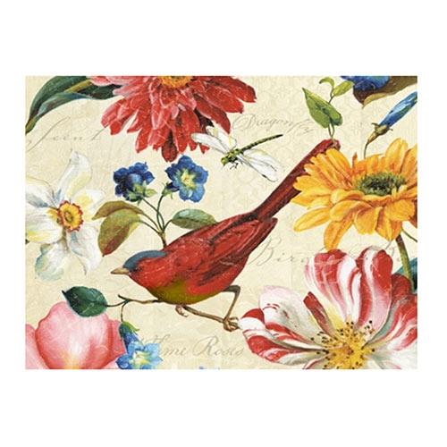 Placa Decorativa Pássaro Vermelho Média em Metal - 30x20cm