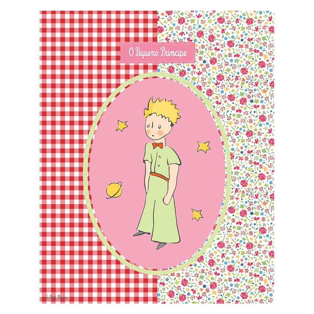 Placa Decorativa Patchwork Floral O Pequeno Príncipe em Metal - 25x20 cm
