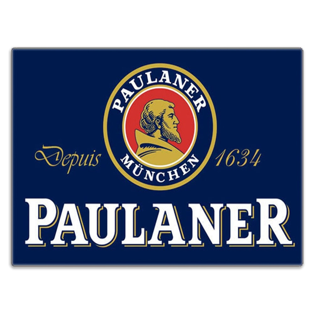 Placa Decorativa Paulaner Logo Azul Grande em Metal - 40x30 cm