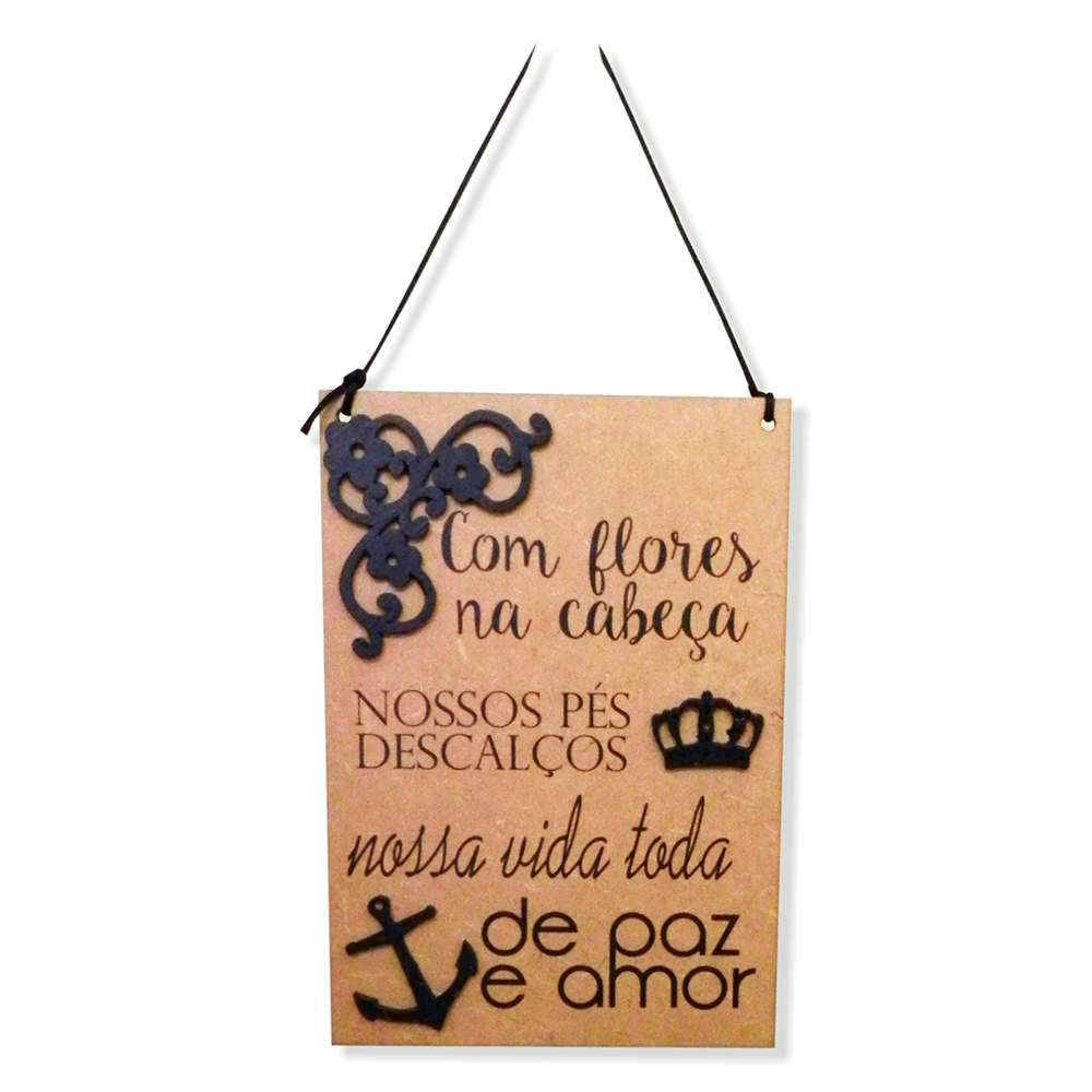 Placa Decorativa Paz e Amor em MDF Cru com Apliques - 40x14 cm