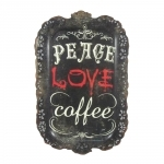 Placa Decorativa Peace Love Coffee em Metal - 40x26 cm