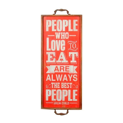 Placa Decorativa People Who Love To Eat em Metal - 73x28 cm