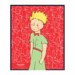 Placa Decorativa Pequeno Príncipe Fundo Vermelho em Metal - 25x20 cm