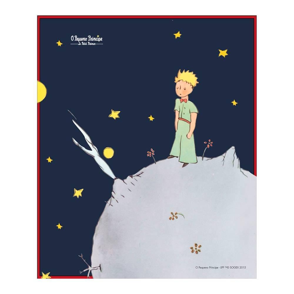 Placa Decorativa O Pequeno Príncipe na Lua Clássica Azul em Metal - 25x20 cm