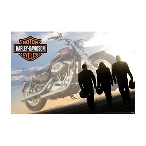 Placa Decorativa Pilotos e Harley-Davidson Grande em Metal - 40x30 cm