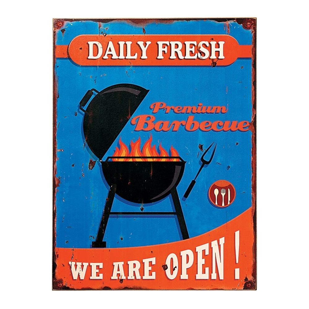 Placa Decorativa Premium Barbecue Fundo Azul em MDF - 40x30 cm