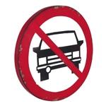 Placa Decorativa Proibidos Carros em Metal - 45x45 cm