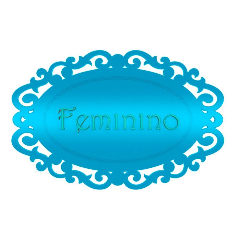 Placa Decorativa Provençal Masculino Azul Bebe em MDF - 33x22 cm