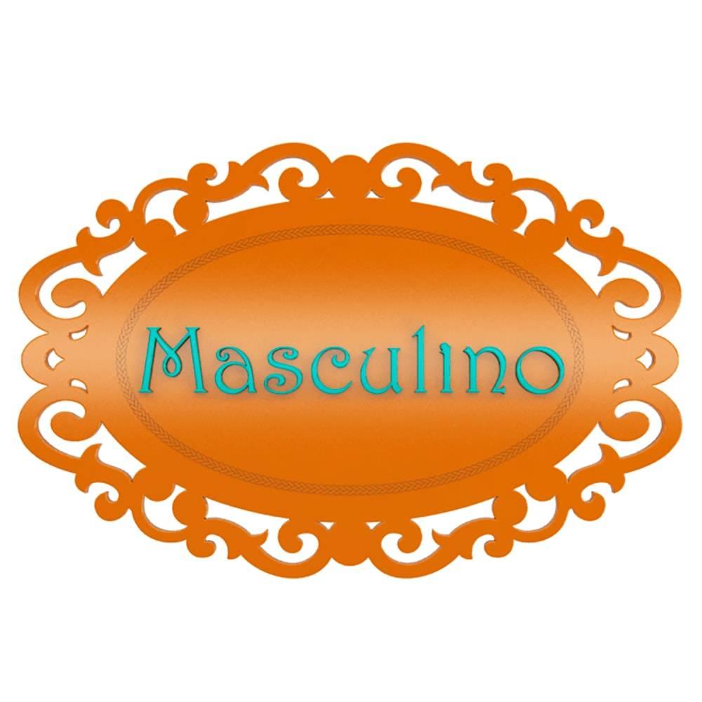 Placa Decorativa Provençal Masculino Laranja em MDF - 33x22 cm