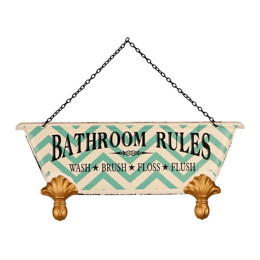 Placa Decorativa Regras do Banheiro Verde e Branco em Metal - 30x20 cm