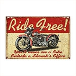 Placa Decorativa Ride Free em Metal - 40x30 cm