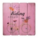 Placa Decorativa Riding a Bicycle Rosa em MDF - 40x40 cm