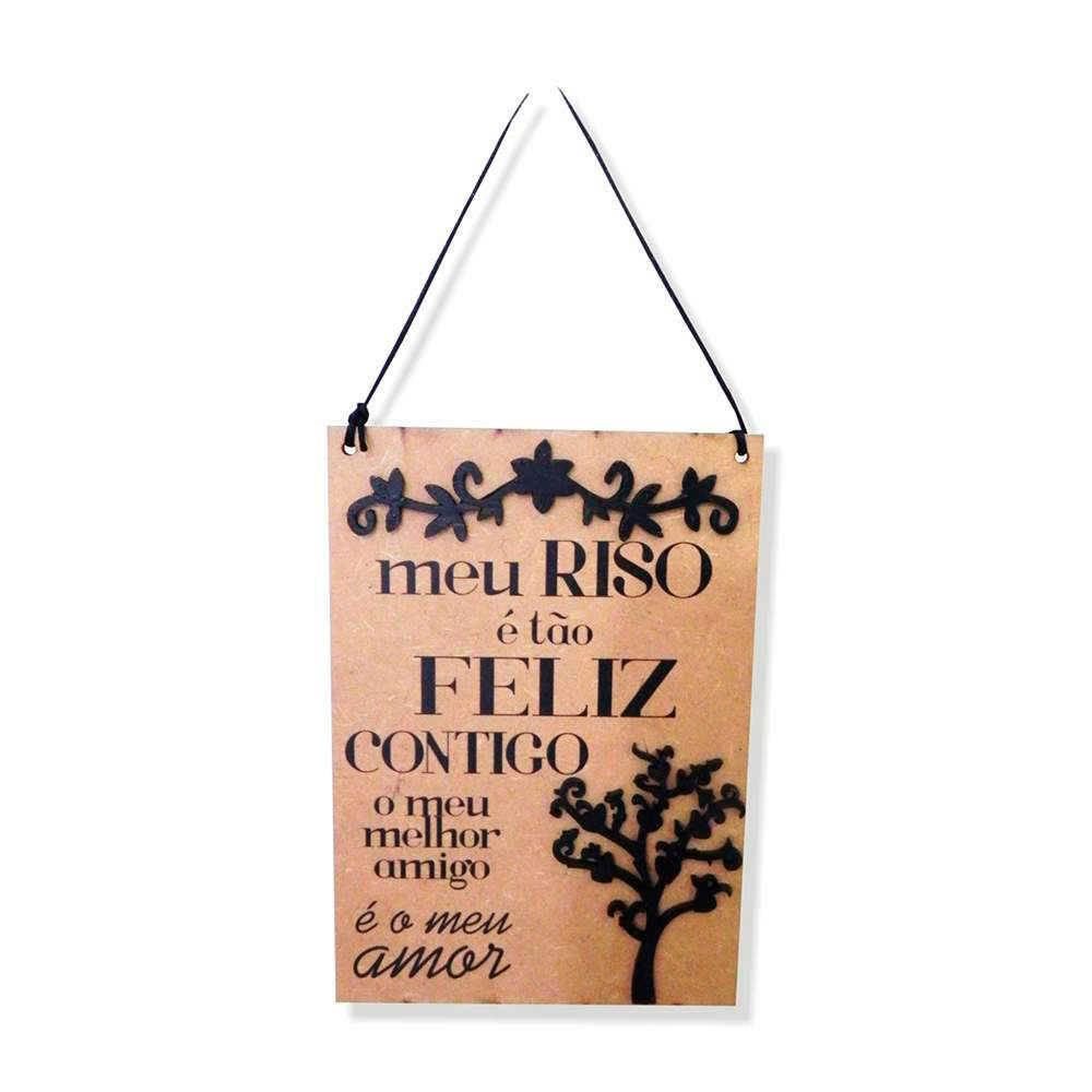 Placa Decorativa Riso Feliz em MDF Cru com Apliques - 40x14 cm