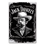 Placa Decorativa Rosto de Jack Daniels Grande em Metal - 40x30cm