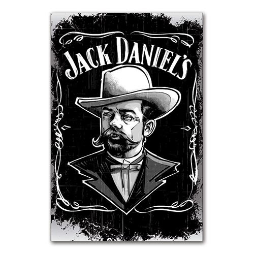 Placa Decorativa Rosto de Jack Daniels Média em Metal - 30x20 cm