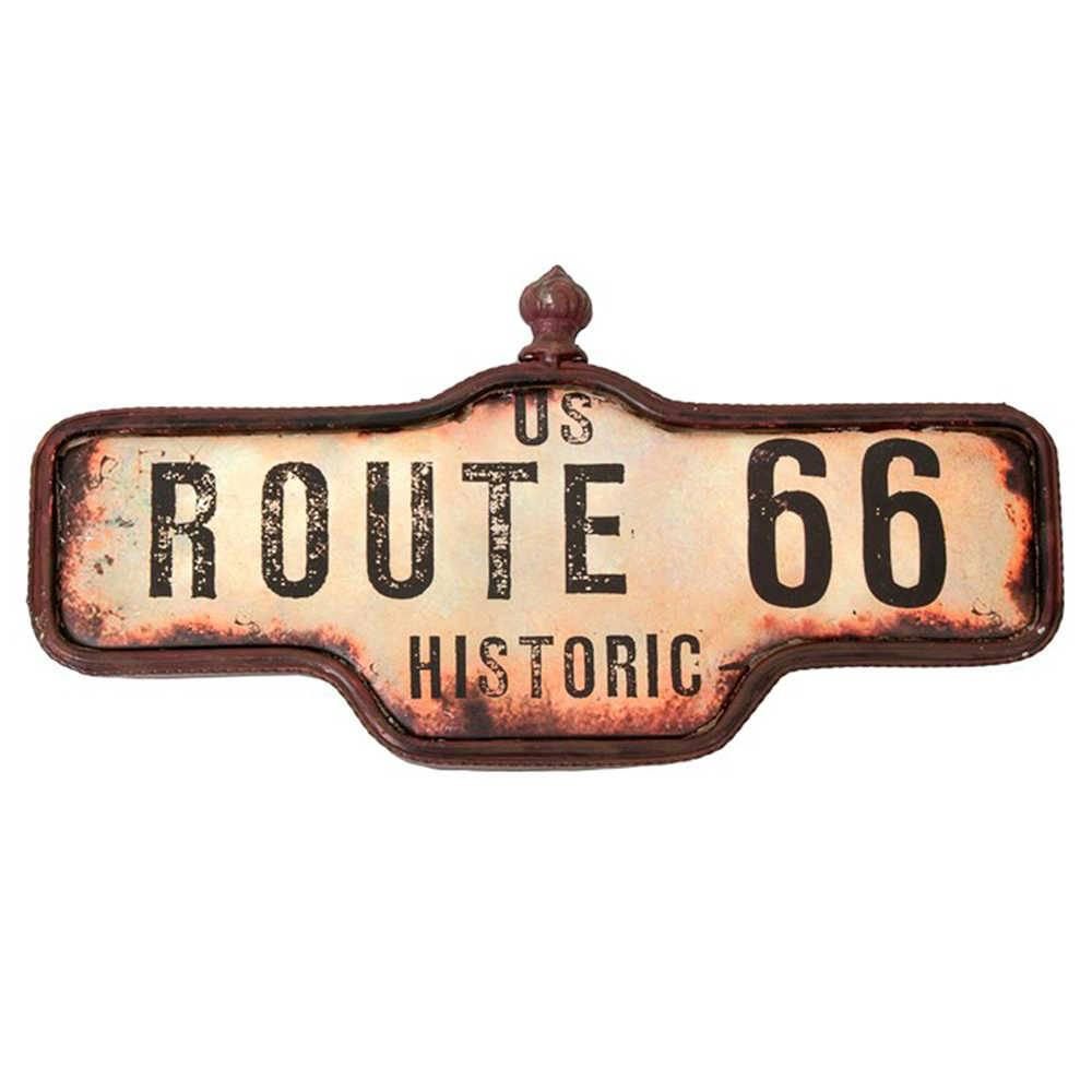 Placa Decorativa Route 66 Marrom em Metal - 48x24 cm