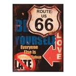 Placa Decorativa Route 66 Média em Metal - 30x20 cm