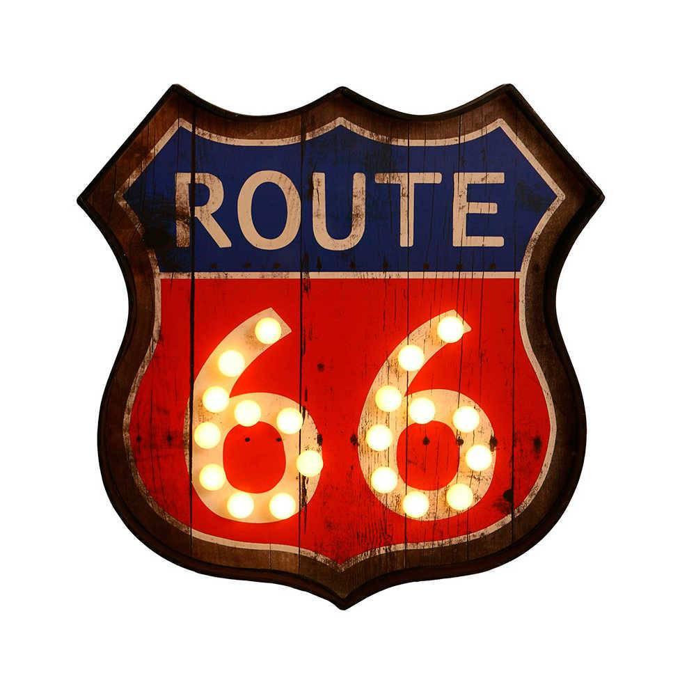 Placa Decorativa Route 66 em Metal Envelhecido - com Luzes - 43x42 cm