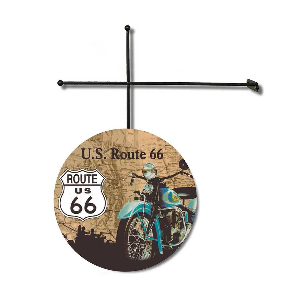 Placa Decorativa Route 66 com Suporte em Metal - 30x30 cm