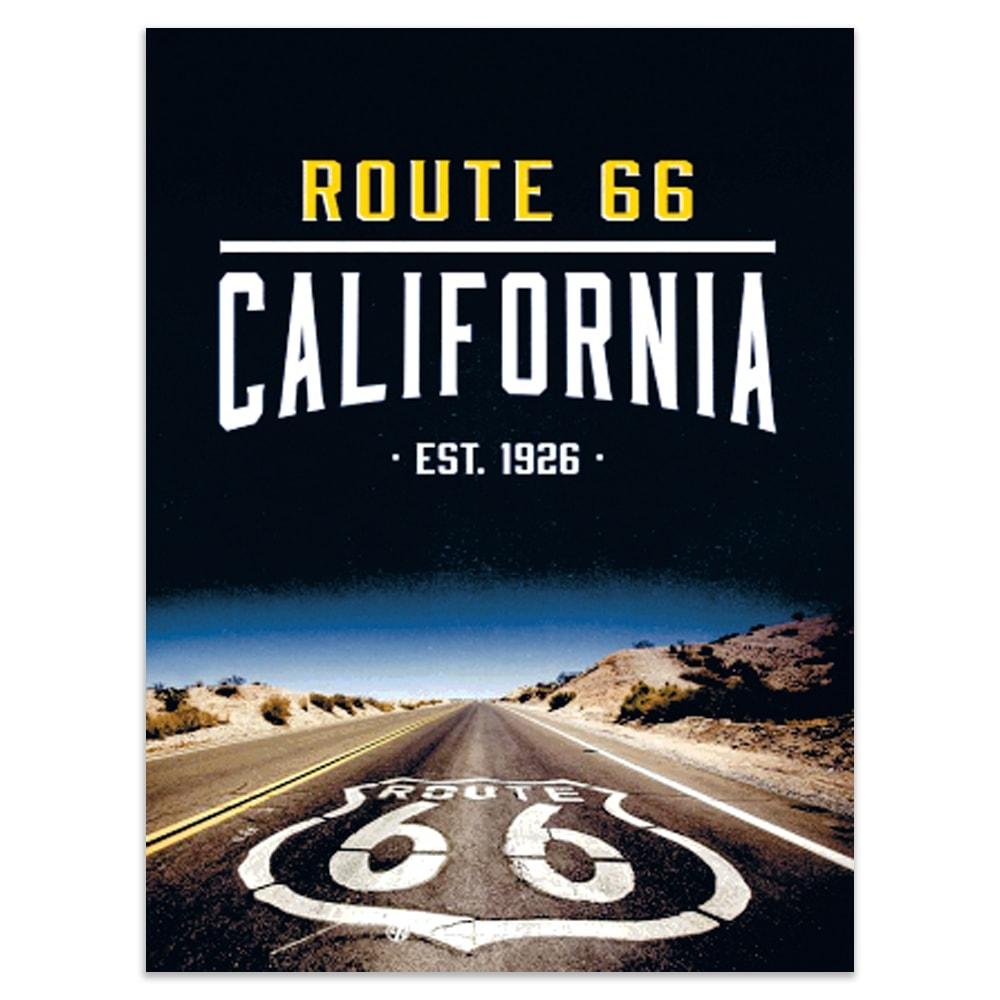 Placa Decorativa Route California Preta Média em Metal - 30x20 cm