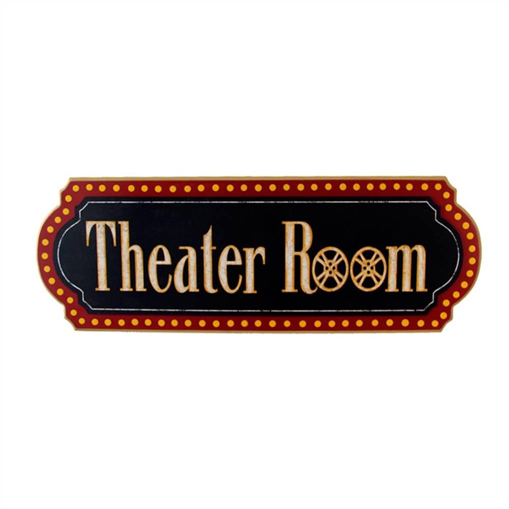 Placa Decorativa Sala de Teatro Antigo em Madeira - 59x27 cm