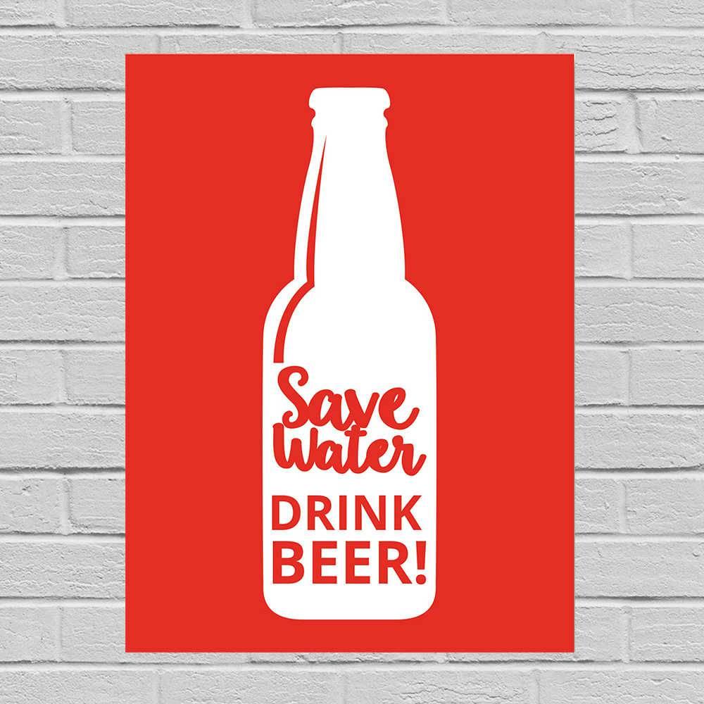 Placa Decorativa Save Water com Impressão Digital em Metal - 40x30 cm