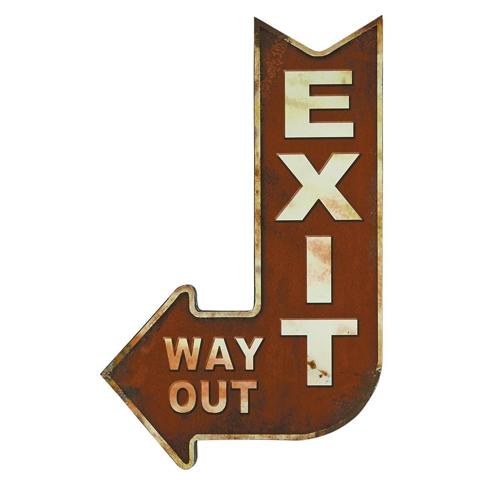 Placa Decorativa Seta Exit Way Out Vermelho em Metal - 47x30 cm