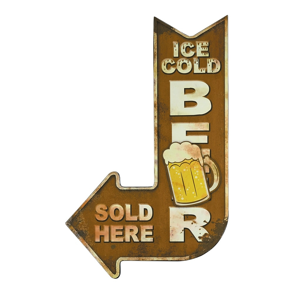 Placa Decorativa Seta Ice Cold Beer Amarelo em Metal - 47x30 cm