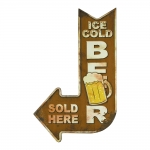 Placa Decorativa Seta Ice Cold Beer Amarelo em Metal