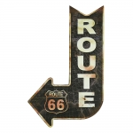 Placa Decorativa Seta Route 66 Preto em Metal - 47x30 cm