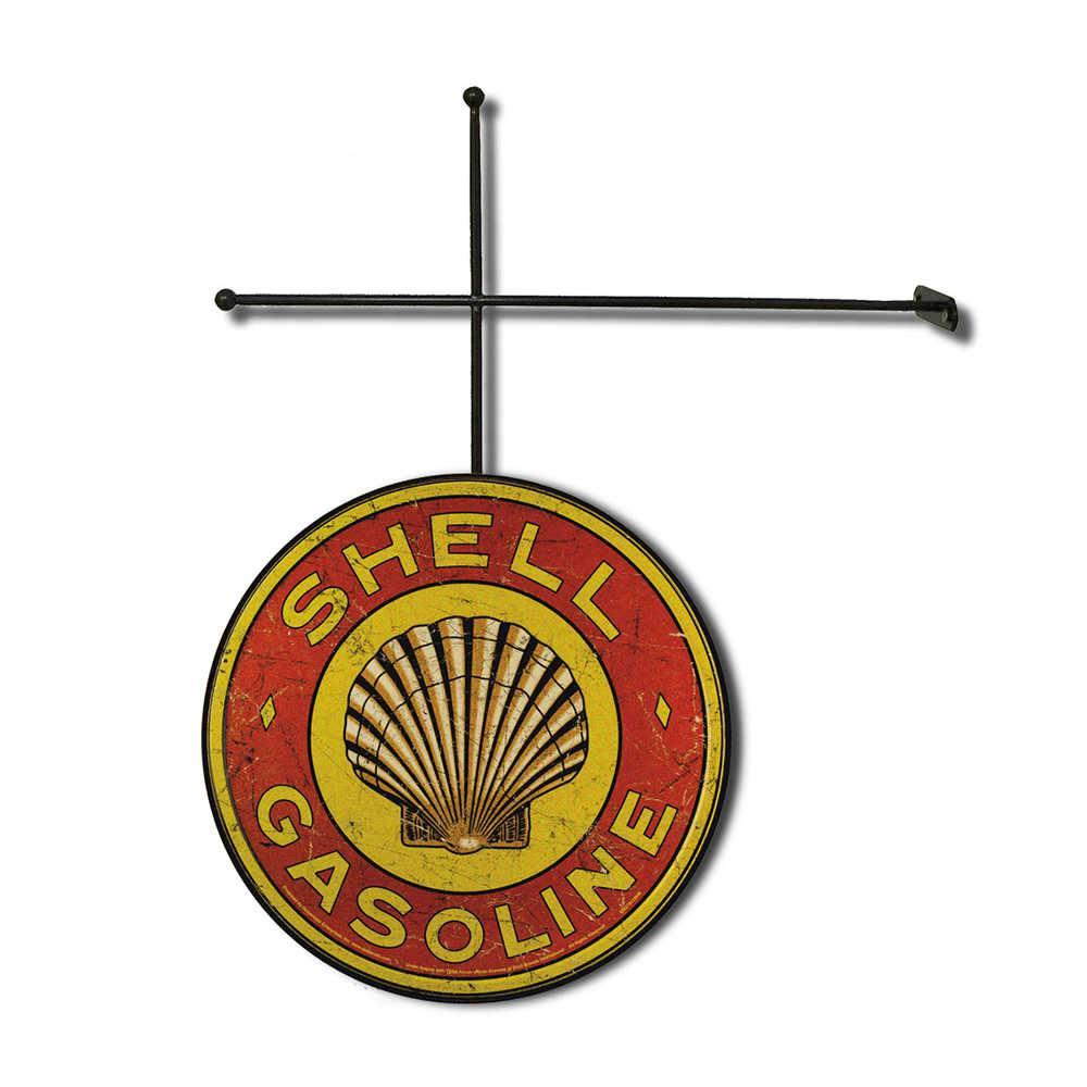 Placa Decorativa Shell Gasoline com Suporte em Metal - 30x30 cm