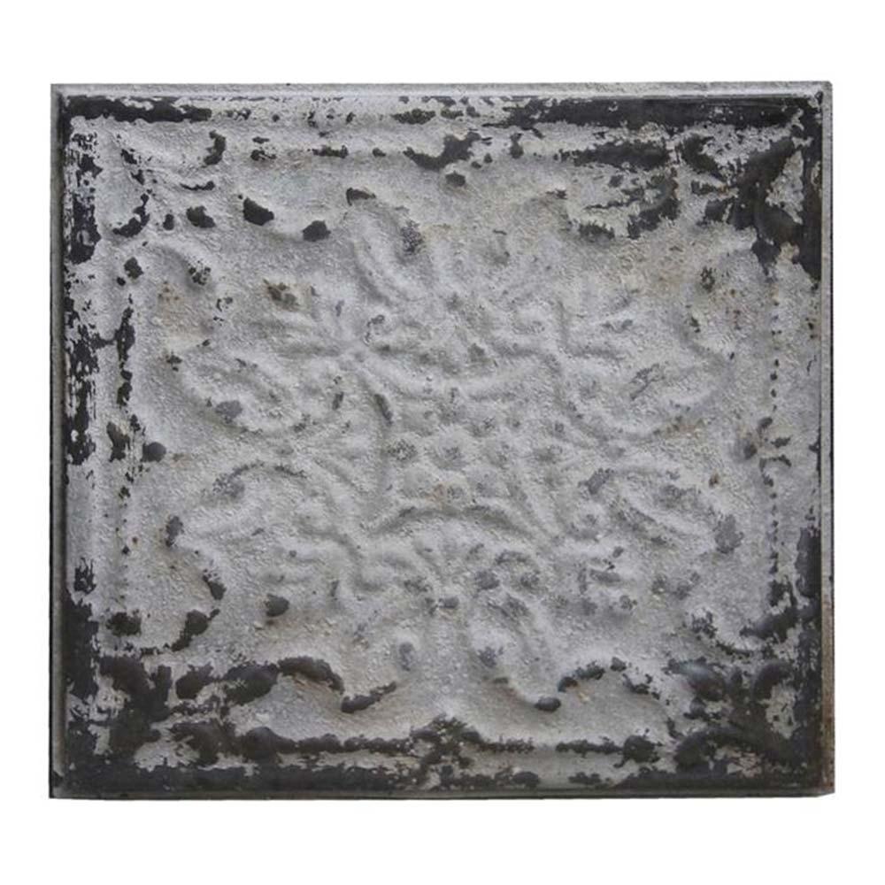 Placa Decorativa Silver Shabby Chic II em Metal - 31x31 cm