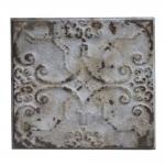 Placa Decorativa Silver Shabby Chic III em Metal - 31x31 cm