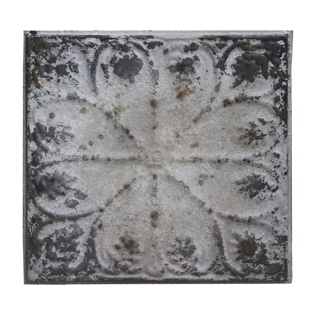Placa Decorativa Silver Shabby Chic em Metal - 31x31 cm
