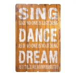 Placa Decorativa Sing, Dance And Dream Amarelo em MDF