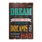 Placa Decorativa Sometimes The Dream Fundo Preto em MDF
