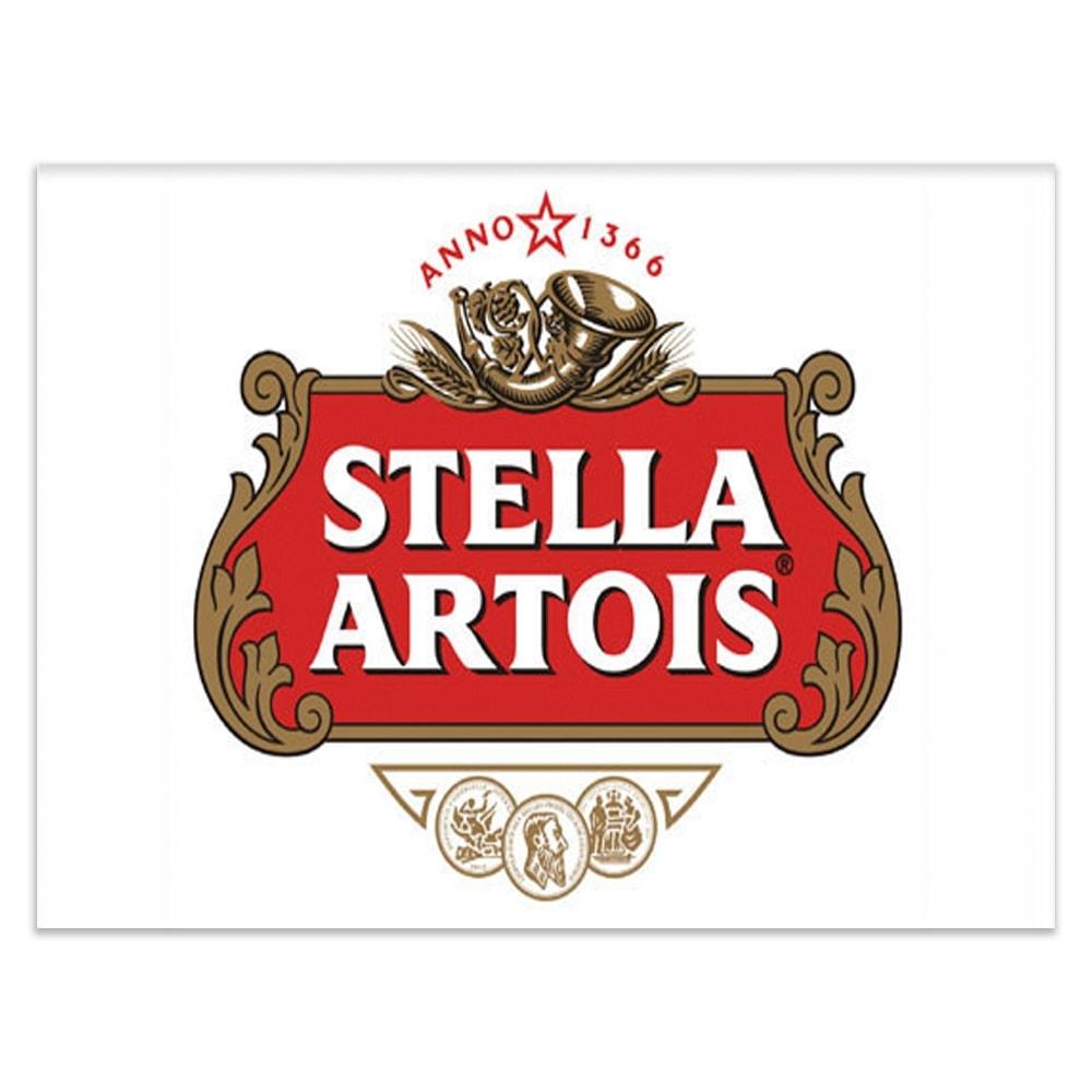 Placa Decorativa Stella Artois Fundo Branco Grande em Metal - 40x30 cm
