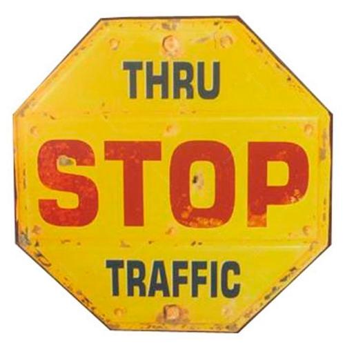 Placa Decorativa Stop Amarela  Shabby Chic em Metal - 41x41 cm