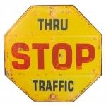 Placa Decorativa Stop Amarela Shabby Chic