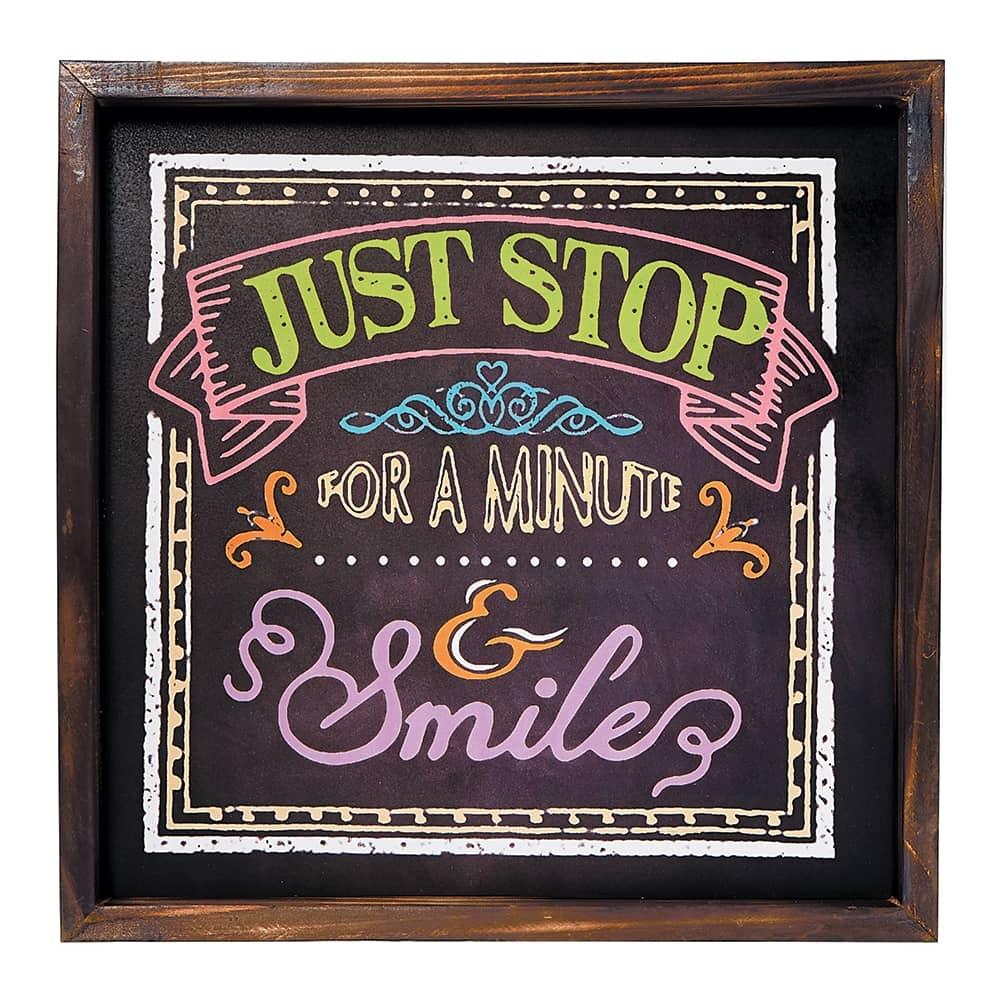 Placa Decorativa Stop And Smile em MDF - 40x40 cm