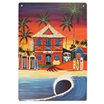 Placa Decorativa Surf Hotel Grande em Metal - 40x30cm