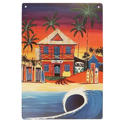Placa Decorativa Surf Hotel Média em Metal - 30x20cm