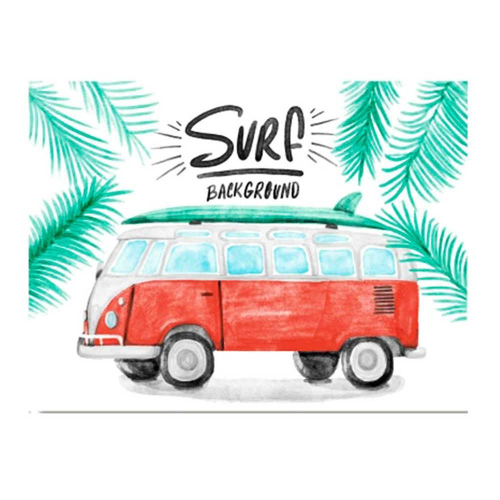 Placa Decorativa Surf Kombi com Impressão Digital em Metal - 30x20 cm