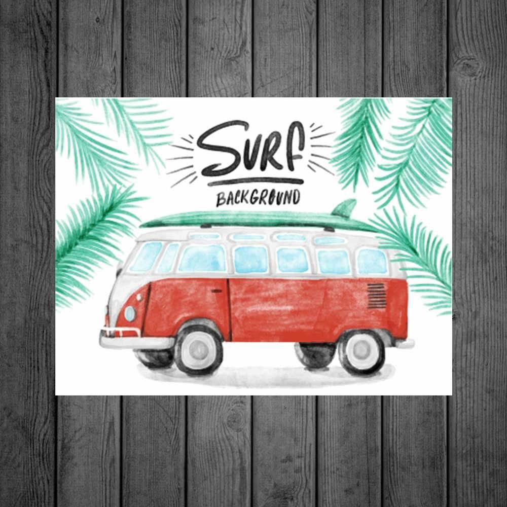 Placa Decorativa Surf Kombi com Impressão Digital em Metal - 40x30 cm