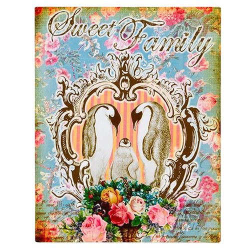 Placa Decorativa Sweet Family em Metal - 28x22 cm