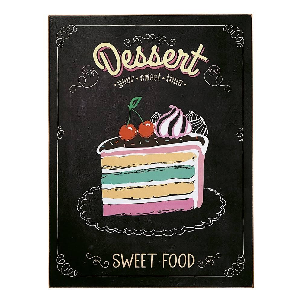 Placa Decorativa Sweet Food em Madeira - 40x30 cm