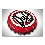 Placa Decorativa Tampa Cerveja Duff Vermelha Grande em Metal - 40x30cm