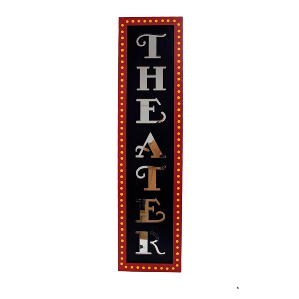 Placa Decorativa Teatro com Letras Espelhadas em Madeira - 59x27 cm